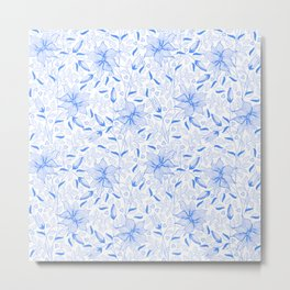 FLOWERS, PETALS AND HEARTS - BLUE Metal Print