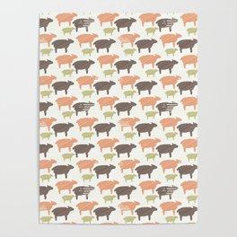 Pink Brown and Green Natural Color Sheep Poster