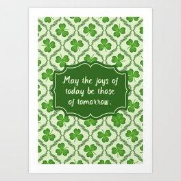 Irish Blessing Shamrocks Pattern Art Print