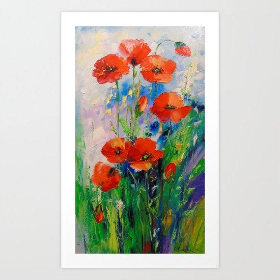 Poppies in a field Art Print