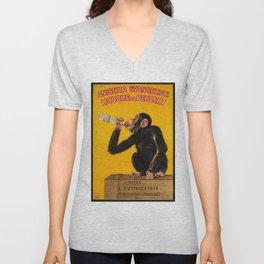 Vintage Anisette Liquor Italian Drinking 'Drunken Monkey' Aperitif Advertisement Poster Unisex V-Neck