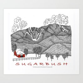 Sugarbush Vermont Serious Fun for Skiers- Zentangle Illustration Art Print