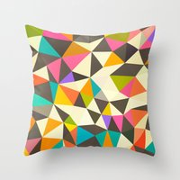 mod Throw Pillows featuring Mod Tris by Beth Thompson