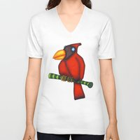 cardinal V-neck T-shirts featuring Cardinal by Striped Aardvark