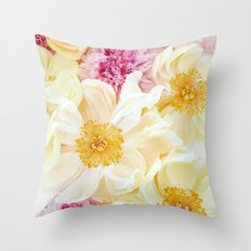 peony cascade Throw Pillow