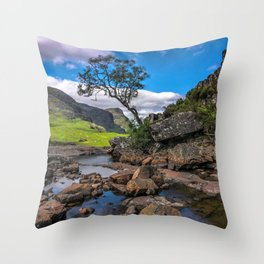 Lonely Tree In Scottish Countryside Ultra HD Throw Pillow