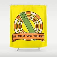 simpsons Shower Curtains featuring The Simpsons: In rod we trust by dutyfreak