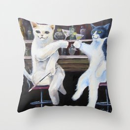 Social Cats  Throw Pillow