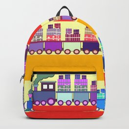 Colorful trains with Christmas gifts Backpack
