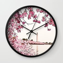 Washington Monument Amid Cherry Blossoms II Wall Clock
