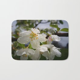 White Flowers with Rain Drops Bath Mat
