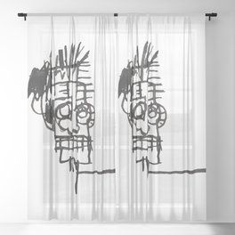 A vectorised and reworked Basquiat notebook sketch Sheer Curtain
