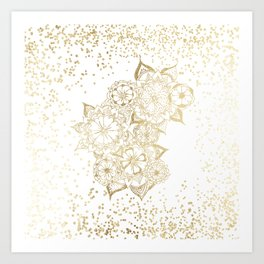 Hand drawn white and gold mandala confetti motif Art Print