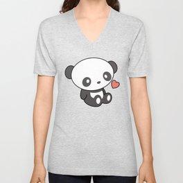 Kawaii Cute Panda With Heart Unisex V-Neck