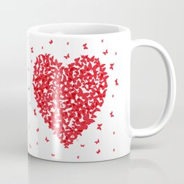 Heart - summer card design, red butterfly on white background Coffee Mug