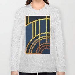Art Deco Morning Sun In Navy Blue Long Sleeve T-shirt