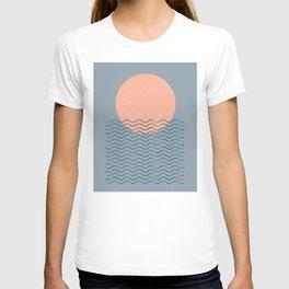 Ocean Wave Sun Blue - Mid Century Modern T-shirt