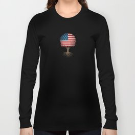 Vintage Tree of Life with Flag of The United States Long Sleeve T-shirt