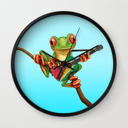 Tree Frog Playing Acoustic Guitar with Flag of Guyana Wall Clock