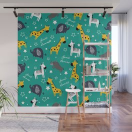 Sweet dreams little one zoo animals cute pattern sea green Wall Mural