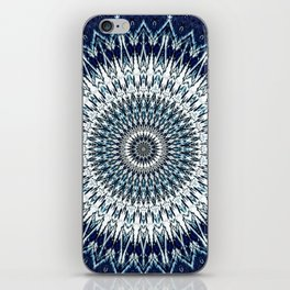 Indigo Navy White Mandala Design iPhone Skin