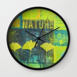 Green nature greenery gingko leaf collge Wall Clock