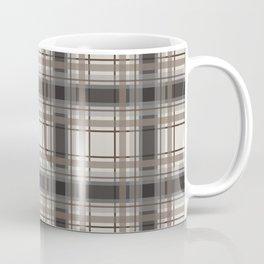 Brown Plaid with tan, cream and gray Coffee Mug