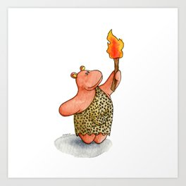 Fire baby! A cute caveman hippo illustration Art Print