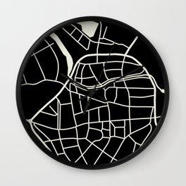 Wismar Karte Dark Wall Clock