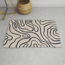 Topographic Map / Nude & Dark Blue Rug