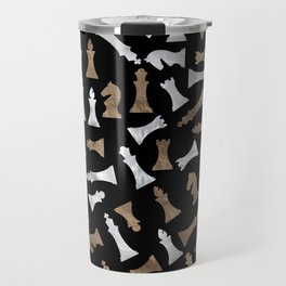 Chess Figures Pattern - Gold and pearl Travel Mug
