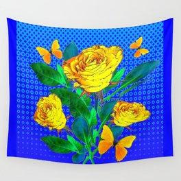 YELLOW BUTTERFLIES, ROSES, & BLUE OPTICAL ART Wall Tapestry