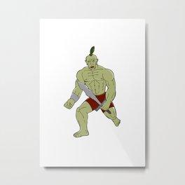 Orc Warrior Wielding Sword Running Cartoon Metal Print