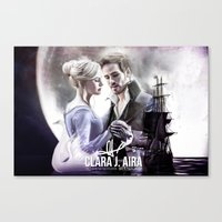captain swan Canvas Prints featuring Captain Swan by Clara J Aira