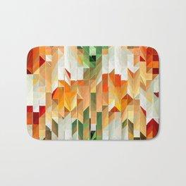 Geometric Tiled Orange Green Abstract Design Bath Mat