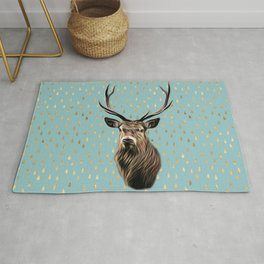 Highland Stag on turquoise and gold raindrop pattern Rug