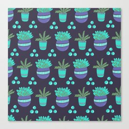 Potted Plants Pattern Canvas Print