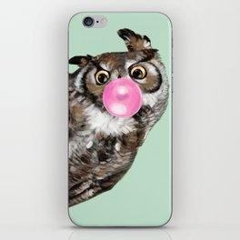 Sneaky Owl Blowing Bubble Gum iPhone Skin