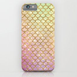 Gold Glitter Mermaid Pattern Sparkle Pink Cute iPhone Case