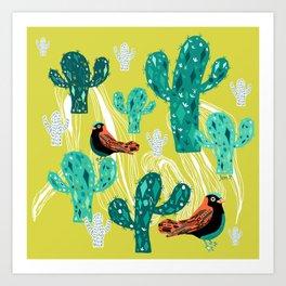 cactus with birds Art Print
