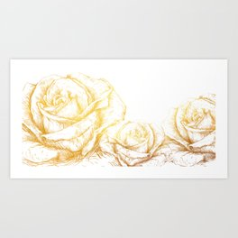Vintage Roses Floral Gold Decorative Art Print