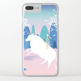 The Girl and the Bull in the Meadow Clear iPhone Case