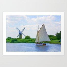 Sailing the Norfolk Broads Art Print
