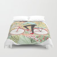 cycling Duvet Covers featuring Summer Cycling by foxflowers