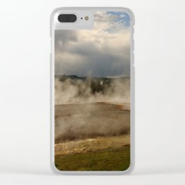 A Cloud Of Steam And Water Over A Geyser Clear iPhone Case