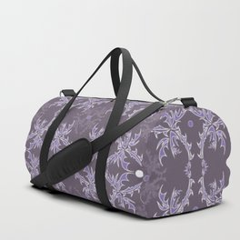 Purple and White Delicate Detail Textile Duffle Bag