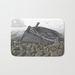 Boat Beached on a Rocky Shore in the Mist Bath Mat