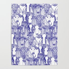 just cattle blue white Poster