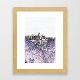Seattle skyline edges (light, purple) Framed Art Print