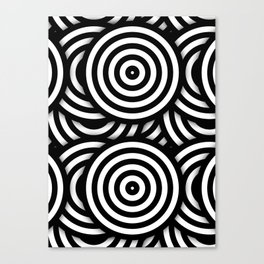 Retro Black White Circles Op Art Canvas Print